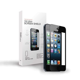 Real Glass Screen Shield for iPhone 5 & 5S (Black)